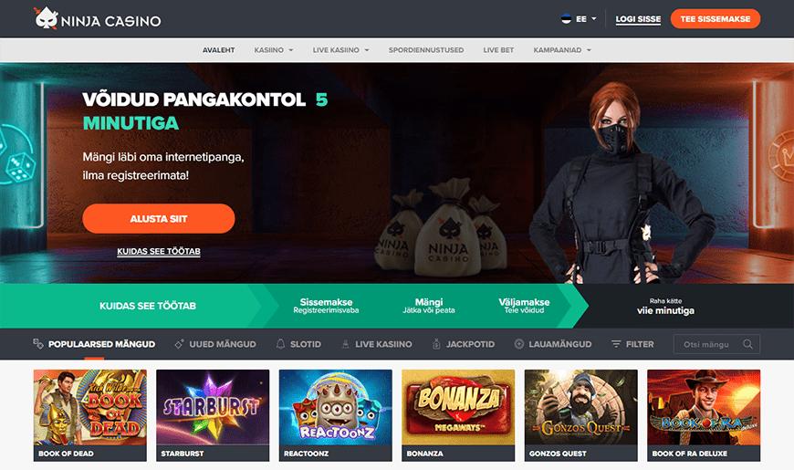 Ninja Casino veebileht