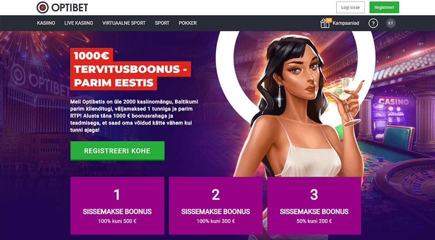 Optibet kasiino veebileht
